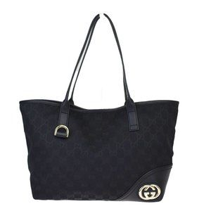 GUCCI GG Pattern Shoulder Tote Bag Canvas Leather